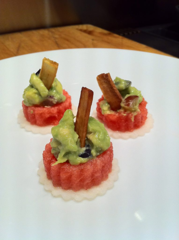 Watermelon canapé is filled with Serrano and Grape Guacamole