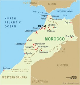 Map of Morroco and the Mediterranean Sea
