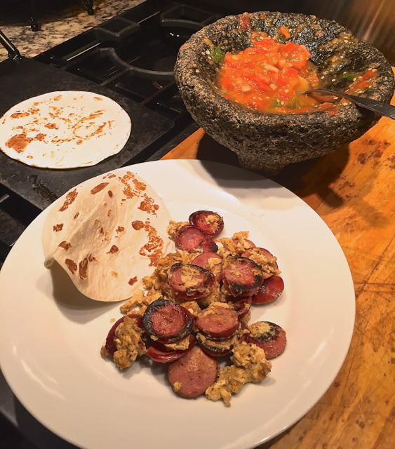 Country Sausage and Egg Breakfast Taco with Chile Serrano Salsa