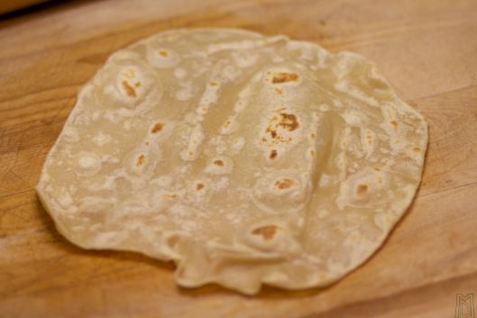 Tex-Mex restaurant flour tortillas are partially raw and flat