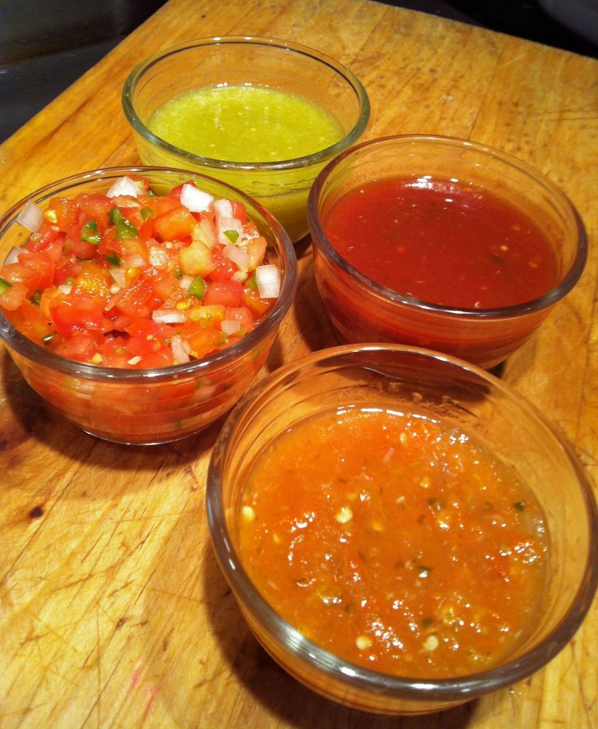 Salsa Ranchera, foreground, is the traditiional salsa in Texas Mexican American homes.