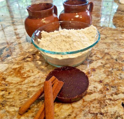 Champurrado Holiday Drink is made with Mexican cholcolate, Canela (cinnamon), and corn masa
