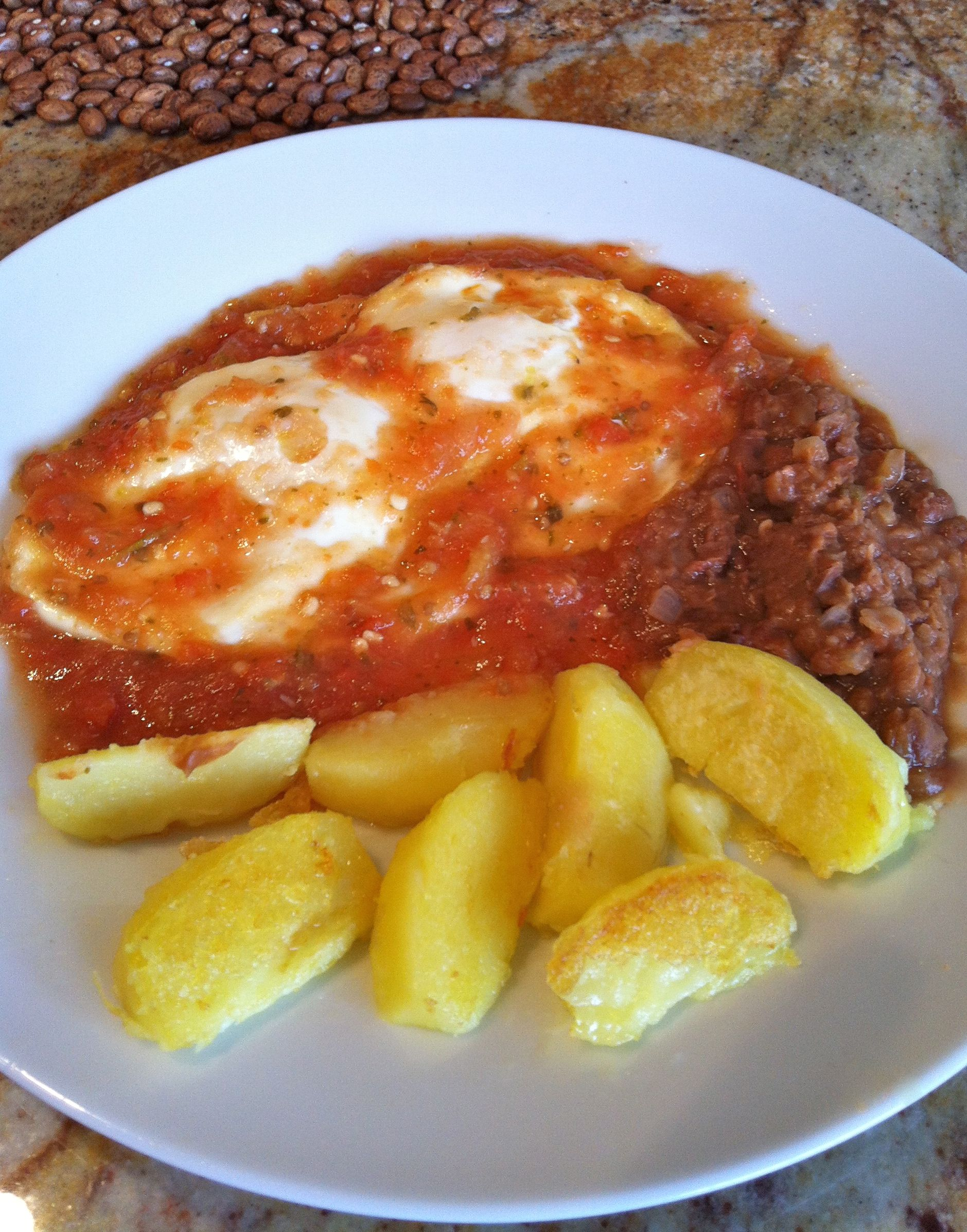 Huevos Rancheros made with fresh ingredients, little fat