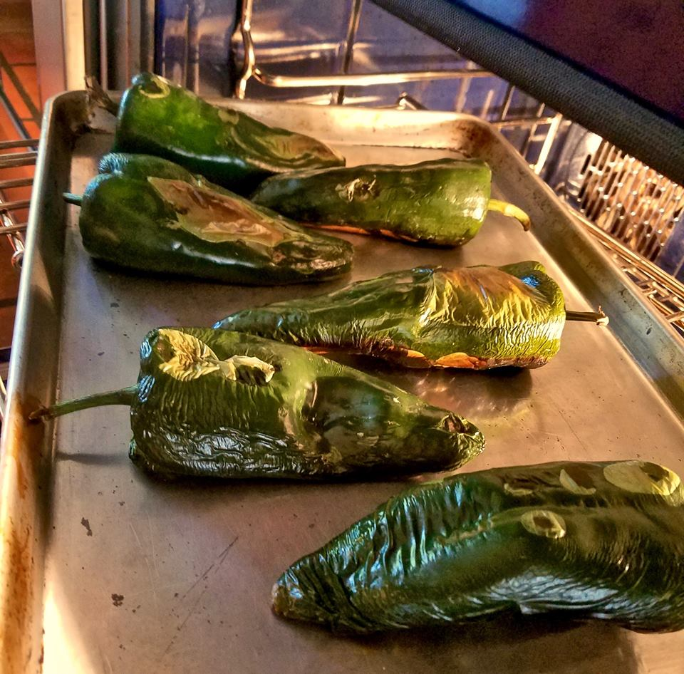 For Mexican Queso, roast Poblano chiles under a broiler