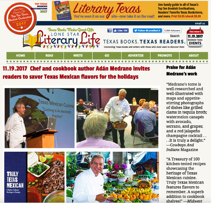 "The ""must read"" online magazine, ""Lone Star Literary Life"" featured this interview about my approach to cooking Texas Mexican food"