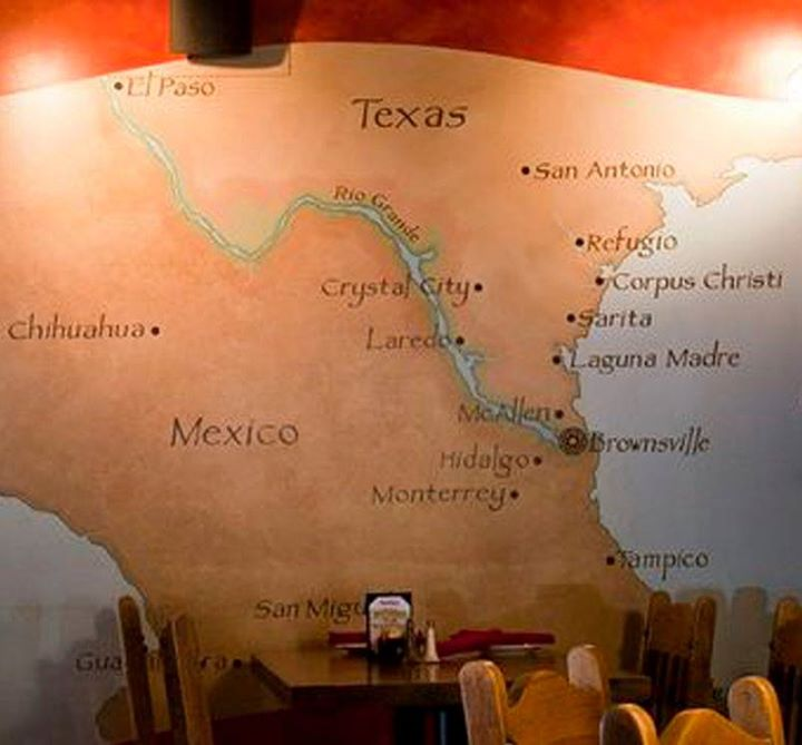 "Mural in Sylvia's Enchilada Kitchen in Houston, Texas, shows the culinary region that is home to ""Hojarascas"""